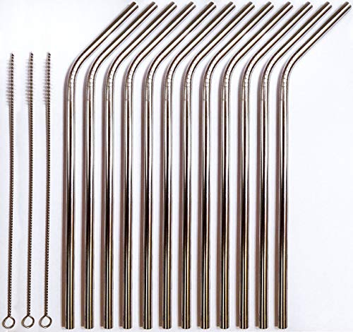 Reusable Straws - Stainless Steel Drinking - Set of 12 + 3 Cleaners - Eco Friendly, SAFE, NON-TOXIC non-plastic CocoStraw Brand