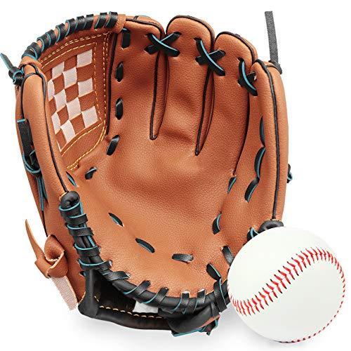 GROOFOO Baseball Glove and Ball for Kids/Youth/Adults Softball Teeball Training, Left Hand Glove with Soft Ball Set, 9.5