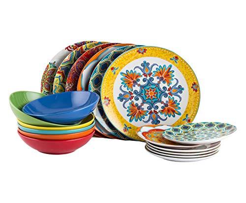 Cala Moresca Juego de vajilla de 18 piezas, servicio para 6 microondas de porcelana china de gres rojo/amarillo/verde/azul/naranja