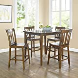 Contemporary 5-Piece Counter-Height Dining Set, Brown...