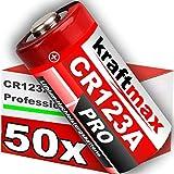 kraftmax 50er Pack CR123 / CR123A Lithium Hochleistungs- Batterie für professionelle Anwendungen - Neueste Generation