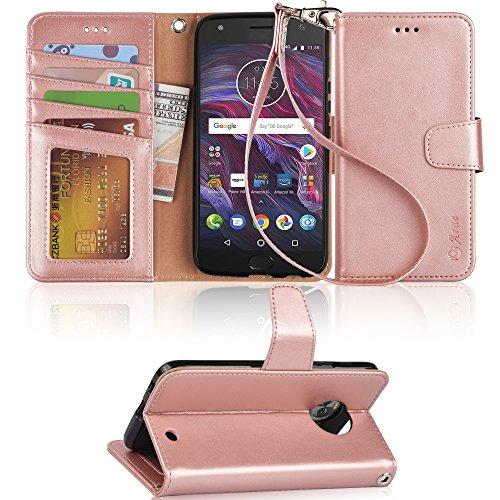 Arae Moto X4 Case, Flip Folio [Kickstand Feature] PU Leather Wallet...