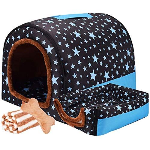 LTLJX Grande Cama para Perro Nido Lavable Cómoda Mascota Invierno Casa Mantener Caliente Cuatro Estaciones Perrera 2 en 1 Sofá,B,XXL 92 * 68 * 72cm