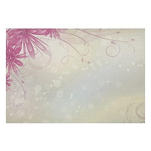 Juego de 4 manteles individuales de PVC con fondo claro con flores rosas Aster lavables, resistentes al calor, para cocina y comedor, 30,5 x 45,7 cm