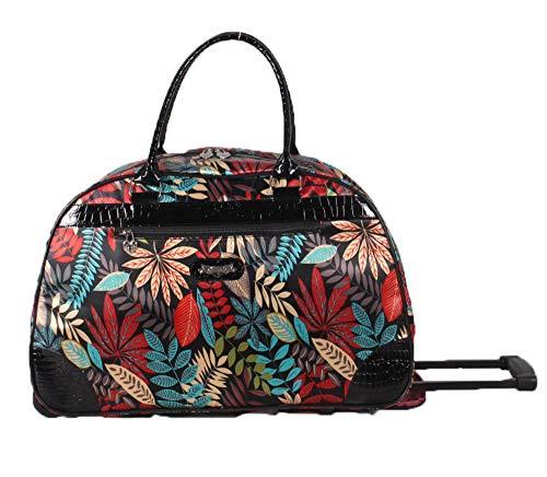 Kathy Van Zeeland Designer Duffel Bag - Small 22 Inch Rolling Carry On - Lightweight Weekender Overnight Business Travel Luggage - Rolling 2-Spinner Wheels Suitcase for Women (Purple Paisley II)