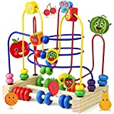 Fajiabao Wooden Bead Maze Activity Cube Fruits Slide Counting Math Abacus Montessori Toys for Toddlers Roller Coaster Educational Toys Christmas Birthday Gifts Indoor Games for Walkers Boys Girls