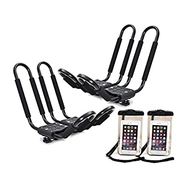 TMS 2 x Roof J Rack Kayak Boat Canoe Car SUV Top Mount Carrier w/Free Cell Phone Bag