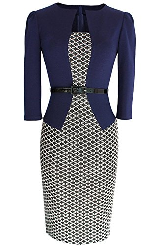 Misshow Damen Business Kleid Partykleid Pencil Etuikleider Strecken Tunika Blau