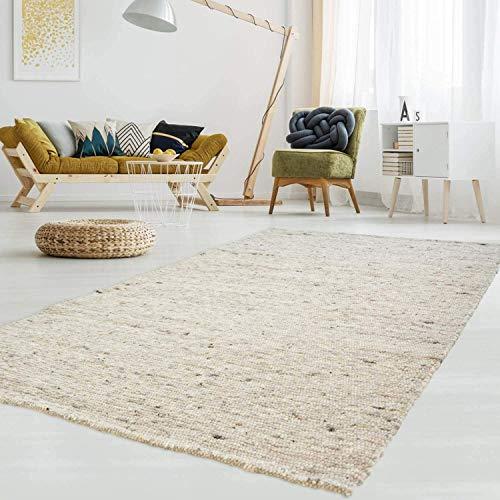 Gewalkter Handweb-Teppich Lambrecht aus hochwertiger Schurwolle edel und aufwendig verarbeitet fürs Wohnzimmer, Eszimmer, Schlafzimmer und die Küche geeignet 63 Grau Beige meliert 130 x 190 cm