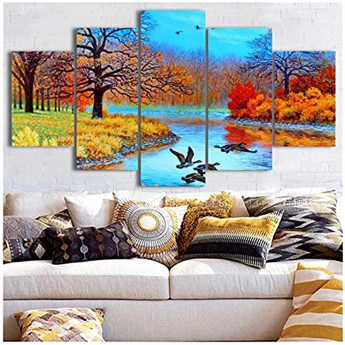 Arte de pared pinturas en lienzo impresión 5 paneles hermoso paisaje póster imágenes habitación moderno hogar decorativo