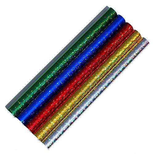 5er Set Klebefolie Hologramm Selbstklebende Glitzer Dekofolie Farbig Bastefolie Glitter Vinyl Aufkleber DIY 100cm x 33cm (Flakes Bunt gemischt)