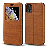 Umidigi A11 Pro Max Case, Wood Grain Leather Case with Card