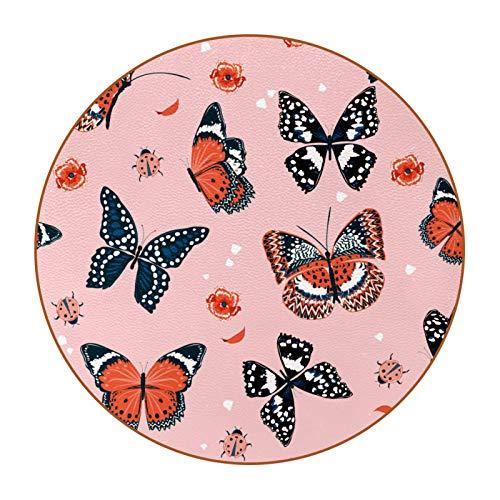 6 posavasos redondos de microfibra de piel para bebidas, posavasos decorativos para tipos de tazas y tazas, color rosa mariposa