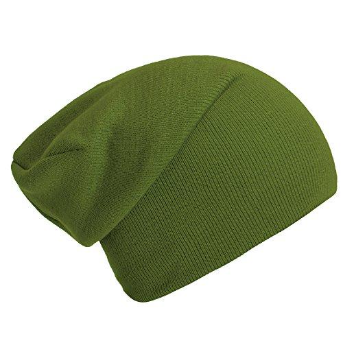 DonDon gorro de invierno gorro de abrigo slouch beanie diseño clásico moderno y suave Verde lima