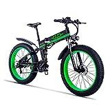 Bicicleta eléctrica plegable de 26 pulgadas Suspensión Fat Tire Bike Nieve 12Ah de la batería de Li-21 velocidad crucero de la playa completa Hombres Mujeres Mountain E-bicicleta con el asiento traser