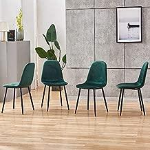 Ansley&HosHo Set of 4 Dining Chair Modern Green Velvet Kitchen Chair Armless Leisure Side Chair for Dining Room Living Room Padding Chair for Dining Kitchen Patio Bistro