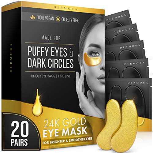 24K Vegan Gold Eye Mask - Puffy Eyes and Dark Circles Treatments – Look Less Tired and Reduce Wrinkles and Fine Lines Undereye, Vegan & Cruelty free.