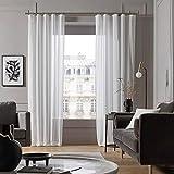 MADURA - Visillo con cinta fruncidora, 145 x 280 cm, color blanco