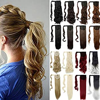 Lelinta 18  Wavy Curly Wrap Around Ponytail Extension for Woman Synthetic Hair Extension 18 Inch-Curly Medium Brown-curly