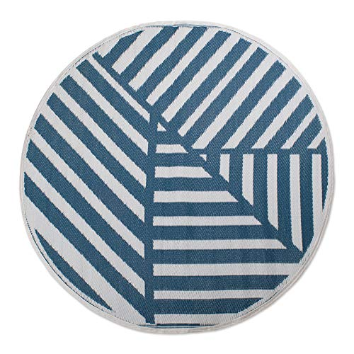 DII Contemporary Indoor Outdoor Lightweight Reversible Fade Resistant Area Rug, Great For Patio, Deck, Backyard, Picnic, Beach, Camping, & BBQ, 5  Round, Blue Geometric