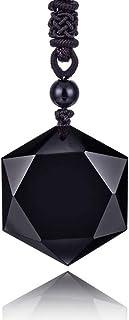 Mujeres para Hombre sanación Negro Obsidiana Piedras Amuleto Estrella David Hexagrama Colgante Collar