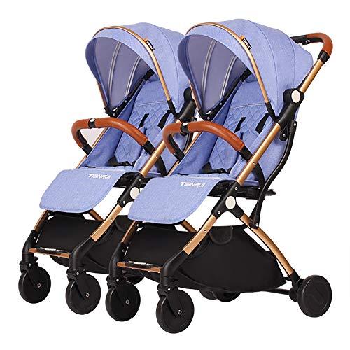Poussetter Yhz jumelle détachable, Double Chariot bébé, Chariot portatif en Aluminium d'or de Chariot portatif léger d'enfant (Couleur : Bleu)