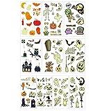 ALD ハロウィン タトゥーシール 10枚セットメイク ステッカー 子供用 大人用 ぴかぴか光る 夜光 フェイス シール カボチャ 魔女 仮装 コスプレ ボディシール