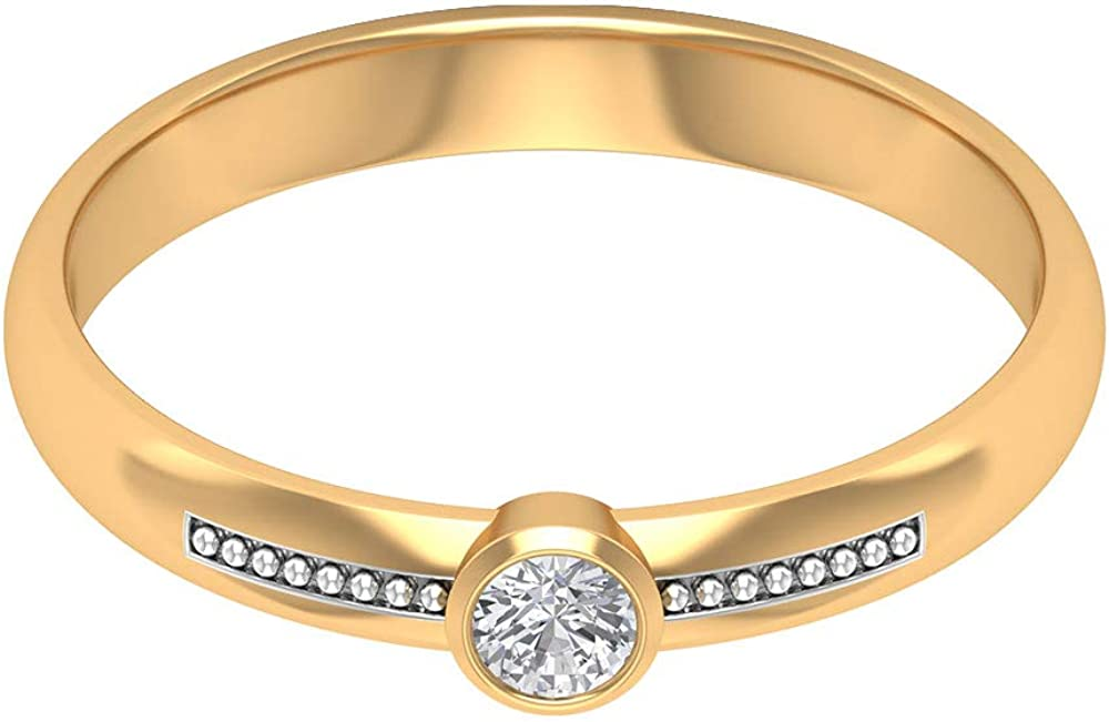 Solitaire Diamond Ring, Unique Engagement Ring, Milgrain Wedding Ring, Beaded Bridal Ring, Statement Promise Ring, Bezel Set Diamond Ring, 14K Gold