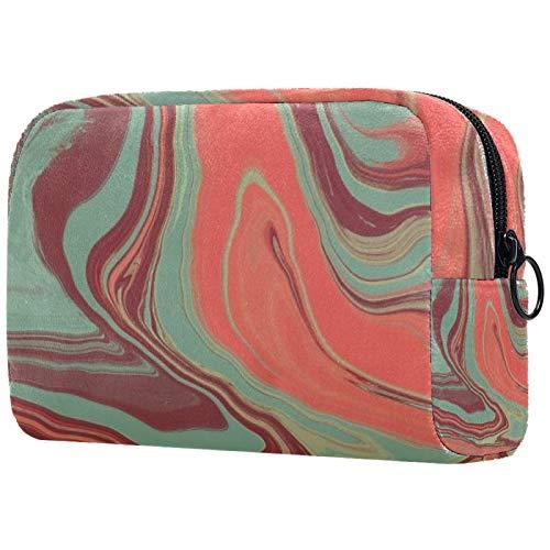 Bolsa de maquillaje para mujer, bolsa organizadora de cosméticos, bolsa con cremallera, hoja de 19 x 7 x 12 cm