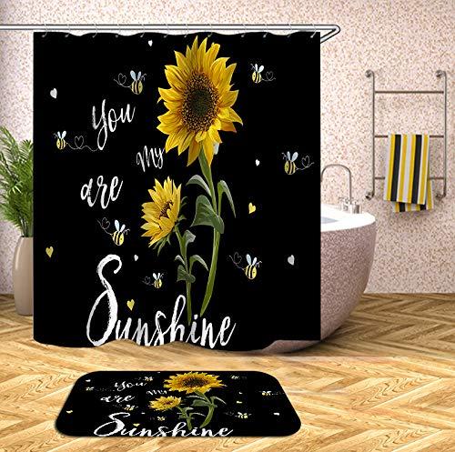 No Branded CurtainKing Duschvorhang-Set mit rutschfestem Teppich, Sonnenblume mit Cartoon-Biene, You are My Sunshine, Polyester-Stoff, Badevorhang & Badematte