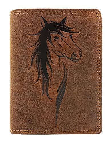 echt Leder Damen Geldbörse Jockey Club Pferd naturbelassenes Büffelleder Cognac braun