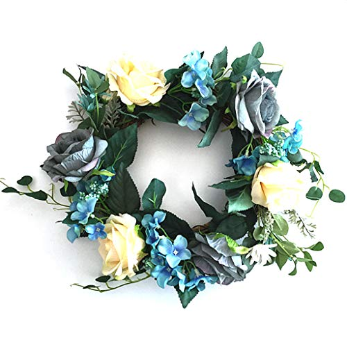 ZHENXI Wreath, Artificial Blue Rose Flowers Wreath Spring Wreath Outdoor for Front Door