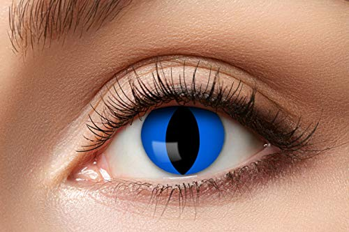 Eyecatcher Color Fun - Farbige Kontaktlinsen - Blue Cat - Blaue Katze - 1 Paar - Ideal für Karneval, Fasching, Halloween & Party
