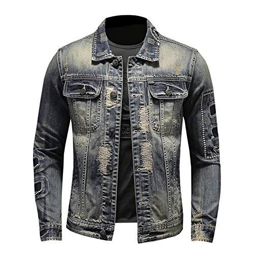 Chaqueta de mezclilla envejecida para hombre, con agujeros rasgados, estilo vintage, para motociclista, bordado