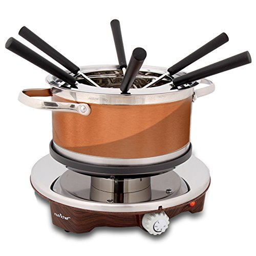 Electric Chocolate Fondue Maker Set  1000W Warmer Machine Kit 1 Quart Nonstick Stainless Steel Melting Pot w/LED Light 6 Dipping Forks Melts Cheese Chocolate Candy Sauce Dip  NutriChef PKFNMK25