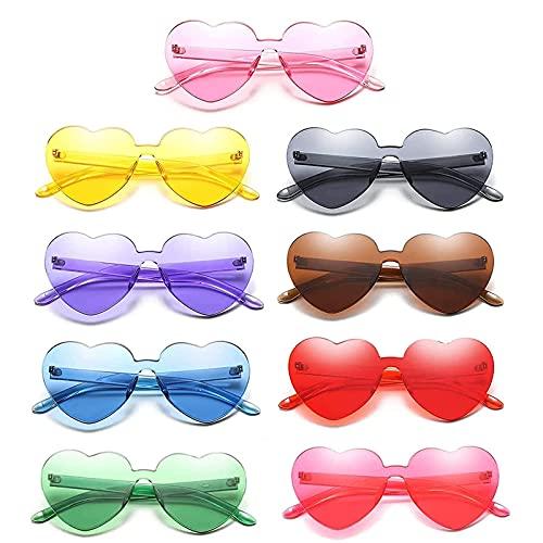 TOCYORIC 9pcs gafas de sol con forma de corazón sin montura para el día de San Valentín para fiestas de carnaval, divertidas gafas de espejos para fiestas de cumpleaños, fiestas de agentes
