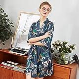 Bata de Mujer Satén Boda Vestido de Novia Albornoz Floral de Gran tamaño Pijama Corto 2 L