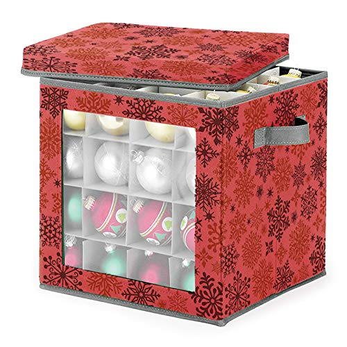 Weihnachtskugeln Aufbewahrung für 27 Kugeln, Weihnachtskugeln Aufbewahrungsbox mit Ablagen und Deckel, Weihnachtskugeln Und Weihnachtsdekoration Aufbewahrung Organisation (rot)