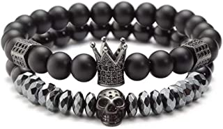 YYWHappyGo 8mm Charm Beads Bracelet Set for Men with...