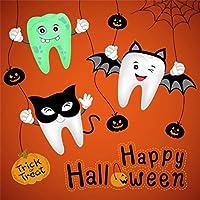 Qinunipoto 背景布 ハロウィン happy halloween オレンジの背景 かわいい歯の赤ちゃん くもの巣 かぼちゃ 撮影用 写真撮影用 写真の背景 背景幕 スタジオのプロ背景幕 写真館 自宅用 ビニール 1.5x1.5m