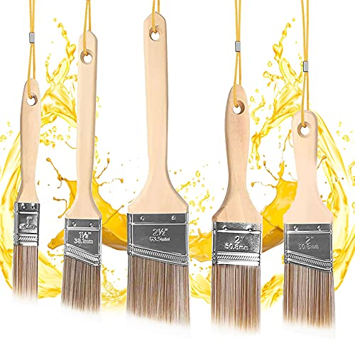 5 Stück Flachpinsel Pinsel Malerpinsel Set,Flachpinsel Set 25,4mm/38,1mm/50,8mm/63,5mm,Pinselset mit Holzgriff für Farben, Holz Lasurpinselset,Pinselset Maler,Flachpinsel Set Aquarel,Pinsel Maler
