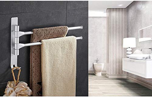 HPPSLT Asciugamani Towel Rack Multi Arms Asciugamano Appeso con Ganci Bagno Portasciugamani Mobili Asciugamano Bar Stanza da Bagno Accessories-Argento 5 Towel Bar Rail (Color : Silver 2)
