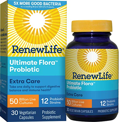Renew Life Adult Probiotics 50 Billion CFU Guaranteed, 12 Strains, For Men & Women, Shelf Stable, Gluten Dairy & Soy Free, 30 Capsules, Ultimate Flora Extra Care