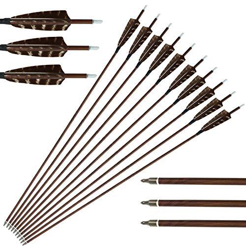 31 Zoll Pfeile für Bogenschießen, Spine 600 Carbonpfeile mit 4'' Echte Feder, Outdoor Sport Carbon Arrows Bogenpfeile Jagdpfeile für Recurvebogen Compoundbogen Langbogen (12 Pack)
