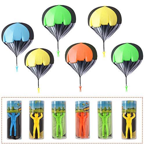 Herefun Juguete de Paracaídas Set, Juegos de Vuelo al Aire Libre para Niños Mano Que Lanza el Juguete del Paracaidista con Soldados, Regalo Fiesta Cumpleaños(Embalaje Individual en Tubo de Plástico)