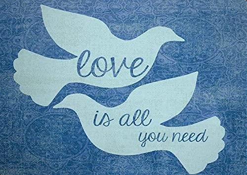 Qunon3 Letrero de estaño, 20 x 30 cm, diseño nostálgico, texto 'Love Is All You Need White Doves'