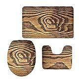 Styilsh patrón de madera 3 unids/set alfombra de baño inodoro piso alfombra tanque tapa de inodoro cubierta para baño