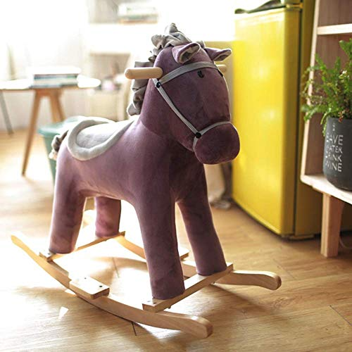 Solid Wood Rocking Horse Toy Wooden Rocking Horseplush Riding Horse Baby Rocking Horse 13 Years Old Toddler Toy Infant Gift Boy and Girl Outdoor Toy Riding Chair