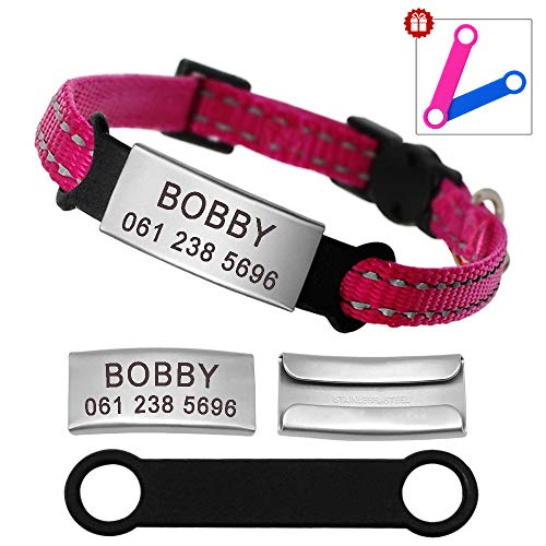 Didog - Collar para gatos con placa de acero inoxidable