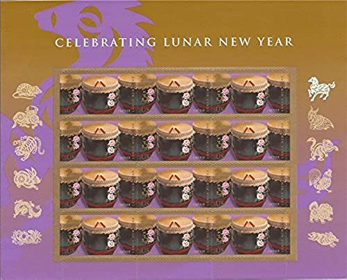 diseño simple y generoso Year of the Horse  Drums (Celebrating Lunar New New New Year), Full Sheet of 12 x Forever Postage Stamps, USA 2014, Scott 4846 by USPS  punto de venta